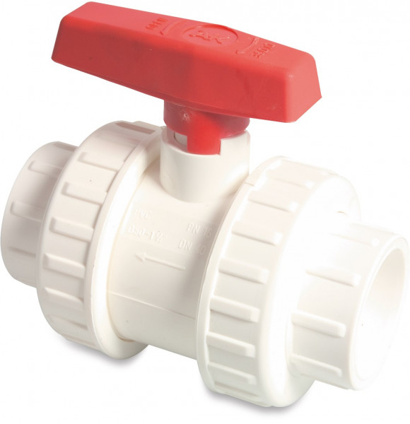 Ball valve with double union, type AK imperial